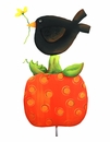 Chubby Crow On Pumpkin - Round Top Fall Collection