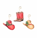 Cowboy Boot & Hat Ornaments- Asst. 3 - Round Top Christmas Collection