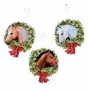 Cowboy Horse Wreath Ornaments- Asst. 3 - Round Top Christmas Collection