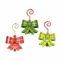 Plaid Bow Ornaments- Asst. 3 - Round Top Christmas Collection
