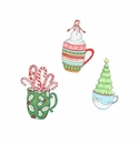 Retro Coffee Mug Magnets- Asst. 3 - Round Top Christmas Collection