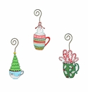 Retro Coffee Mug Ornaments- Asst. 3 - Round Top Christmas Collection