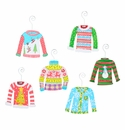 Retro Ugly Sweater Ornaments- Asst. 6 - Round Top Christmas Collection