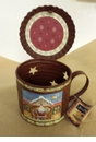 Santa's Workshop Primitive Tin Cup with Lid and Votive Holder - Crazy Mountain
