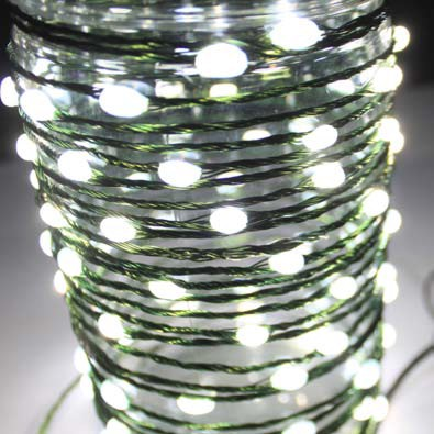 LED Wire String Lights - Warm White LED - Battery/Green Wire -  Set of 96