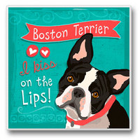 "Absorbent Single Tile Coaster - ""Boston Terrier"""