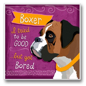 "Absorbent Single Tile Coaster - ""Boxer"""