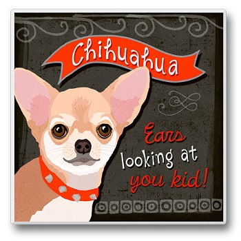 "Absorbent Single Tile Coaster - ""Chihuahua"""