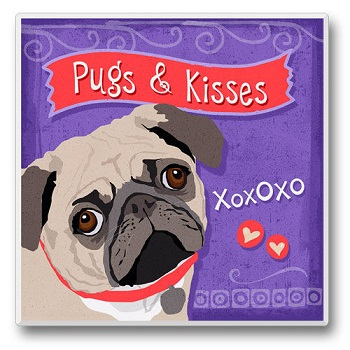 "Absorbent Single Tile Coaster - ""Pug"""
