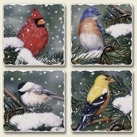"Absorbent Tile Coaster Set - ""Backyard Birds"""