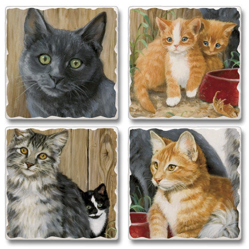 "Absorbent Tile Coaster Set - ""Barn Cat"""