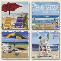 "Absorbent Tile Coaster Set - ""Beachy Keen"""