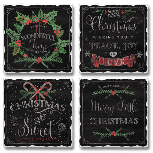 "Absorbent Tile Coaster Set - ""Chalk Christmas"""