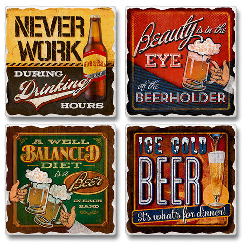 "Absorbent Tile Coaster Set - ""Eye Of Beerholder"""