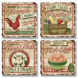 "Absorbent Tile Coaster Set - ""Farmers Market"""