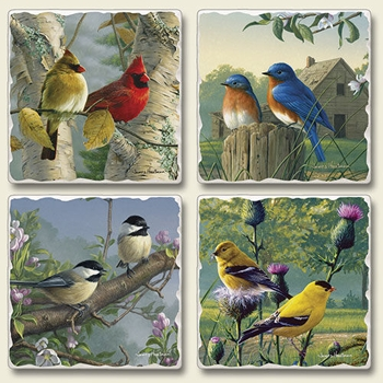 "Absorbent Tile Coaster Set - ""Feathered Friends"""