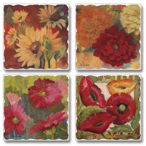 "Absorbent Tile Coaster Set - ""Festival Of Flowers"""