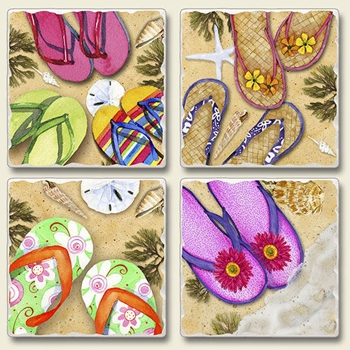 "Absorbent Tile Coaster Set - ""Flip Flops"""