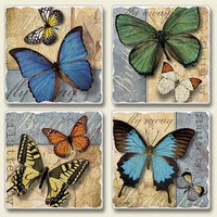 "Absorbent Tile Coaster Set - ""Flutter By"""