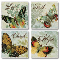 "Absorbent Tile Coaster Set - ""Freestyle Butterflies"""