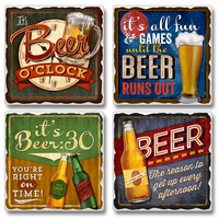 "Absorbent Tile Coaster Set - ""It's Beer O'Clock"""