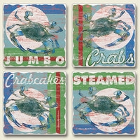 "Absorbent Tile Coaster Set - ""Jumbo Crabs"""