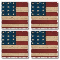 "Absorbent Tile Coaster Set - ""Old Flag"""