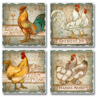 "Absorbent Tile Coaster Set - ""Old Rooster Inn"""