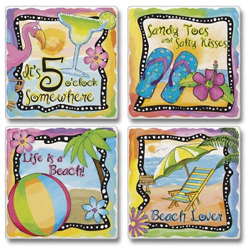 "Absorbent Tile Coaster Set - ""Paradise Found"""