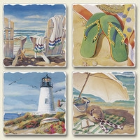 "Absorbent Tile Coaster Set - ""Seaside Treasures"""