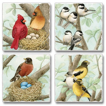 "Absorbent Tile Coaster Set - ""Song Birds"""