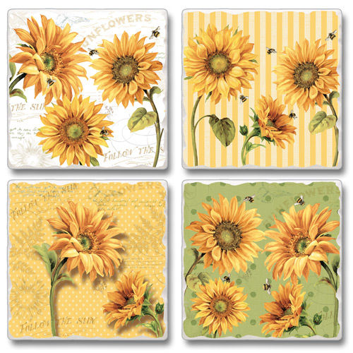 "Absorbent Tile Coaster Set - ""Under The Sun"""