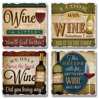 "Absorbent Tile Coaster Set - ""Wine A Little"""