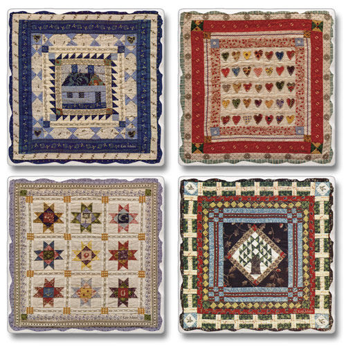 "Absorbent Tile Coasters - ""American Quilts"""