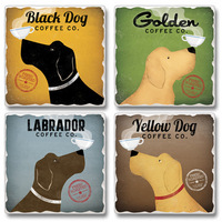 "Absorbent Tile Coasters - ""Black Dog Coffee Co."""