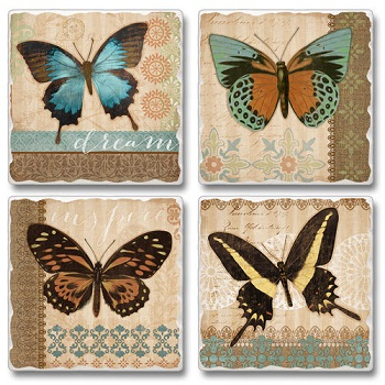 "Absorbent Tile Coasters - ""Butterflies"""