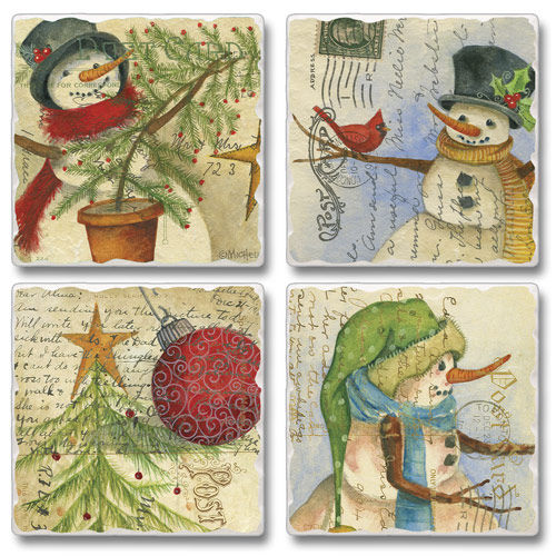 "Absorbent Tile Coasters - ""Christmas Post Cards"""