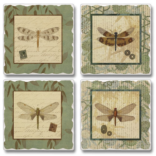 "Absorbent Tile Coasters - ""Dragon Willow"""