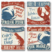 "Absorbent Tile Coasters - ""Fresh Seafood"""