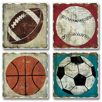 """Absorbent Tile Coasters - """"Game Ball"""""""