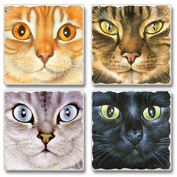 "Absorbent Tile Coasters - ""Good Kitty"""