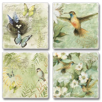 "Absorbent Tile Coasters - ""Great And Small"""
