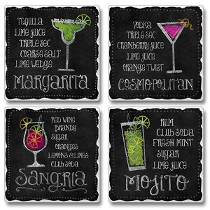 "Absorbent Tile Coasters - ""Happy Hour"""
