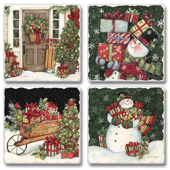 "Absorbent Tile Coasters - ""Home For Christmas"""