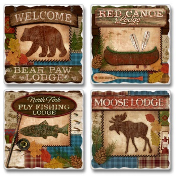 "Absorbent Tile Coasters - ""Lodge"""