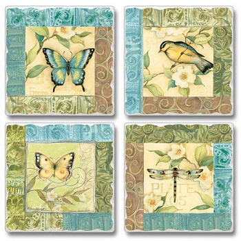 "Absorbent Tile Coasters - ""Morning Song"""