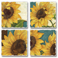 "Absorbent Tile Coasters - ""Sun Shiny Day"""