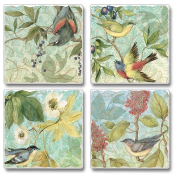 "Absorbent Tile Coasters - ""Tree Top Dancers"""