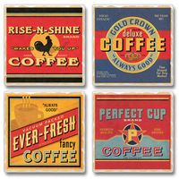"Absorbent Tile Coasters - ""Wholesome Coffee"""