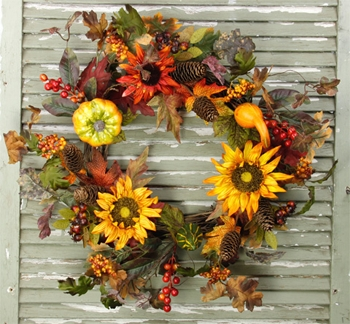 "Artifical Wreath  - ""Harvest Sunflower Garden Wreath"" - 22"""